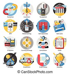 Banking Icons Set - Banking icons set with transaction...