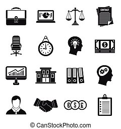 Banking icons set, simple style