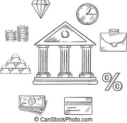 Banking infographic elements in sketch style