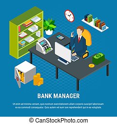 Banking Manager Isometric Composition