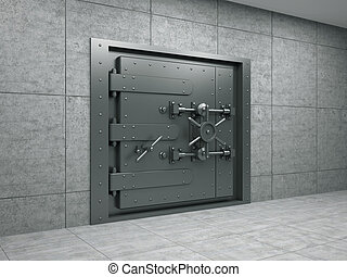 Banking metallic door - 3d illustration of banking metallic...