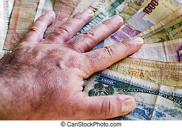 Banking Money Exchange - Old Notes - Businessman's hand over...