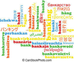 Banking multilanguage wordcloud background concept