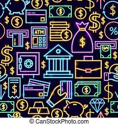 Banking Neon Seamless Pattern