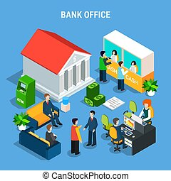Banking Office Isometric Composition