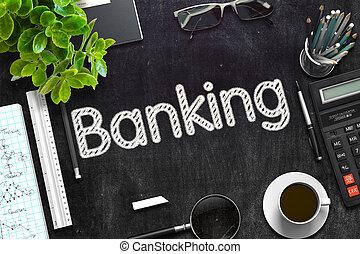 Banking on Black Chalkboard. 3D Rendering.