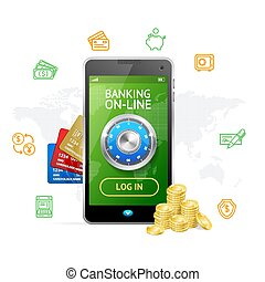 Banking Online Concept Mobile Phone App. Vector