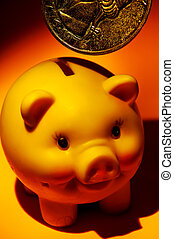 Piggy Bank and a Large QUarter With Creative Lighting.