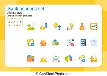Banking premium icons set with flat style isolated on white background. Vector icon design template for graphic, web design, apps, logo, finance and all project. Include 64x64 pixel perfect. EPS file