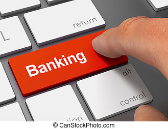 banking pushing keyboard with finger 3d illustration