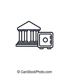 banking safe box money line image