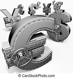 Synthesis from money symbols and banking safes