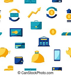Banking seamless pattern with money icons.