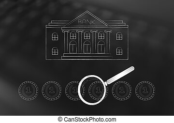 bank building with group of coins and magnifying glass ...