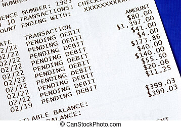 Banking slip after an ATM transaction isolated on blue