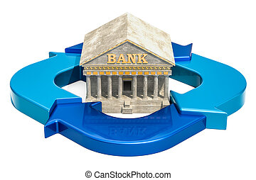 Banking system concept. Business diagram from arrows with bank building, 3D rendering