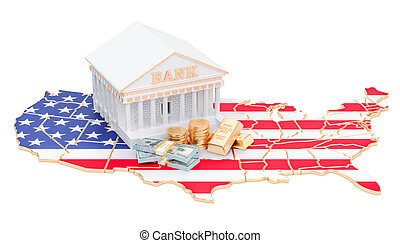 Banking system in the USA concept. 3D rendering