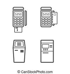 Banking terminal vector icon set