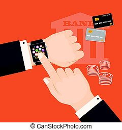 banking virtual with smart watch and credit cards
