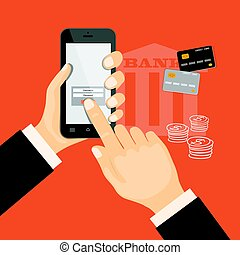 banking virtual with smartphone and credit cards