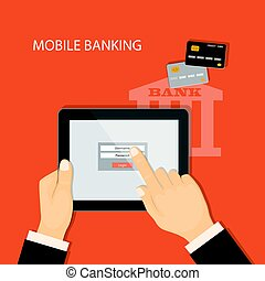 banking virtual with tablet and credit cards