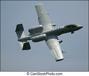 banking war plane - a-10 thunderbolt at an airshow