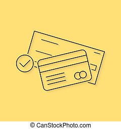 banking with thin line check and credit card. concept of...