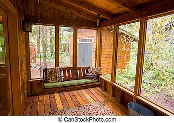 bankje, veranda schommel, screened