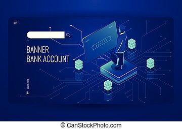 bankkonto, buchhaltung, online, service, daten, zugang, prozess, künstliche intelligenz, mann, sein, eingetragen, in, system, dunkel, violett