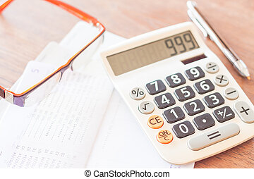 bankkonto, sparbuch, mit, stift, taschenrechner, und, brille