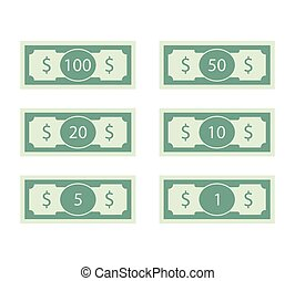 banknot, dolary, halabarda, 50, 100, set.
