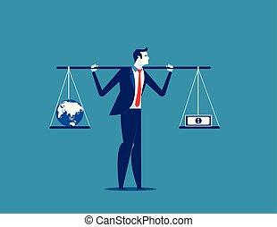 banknot, kula, wektor, albo, imbalance., handlowe pojęcie, waga, illustration., biznesmen