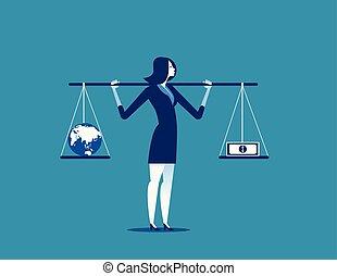 banknot, kula, wektor, albo, imbalance., handlowe pojęcie, waga, illustration., kobieta interesu
