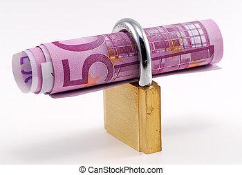 banknot, na, kłódka, tło, biały, wnętrze