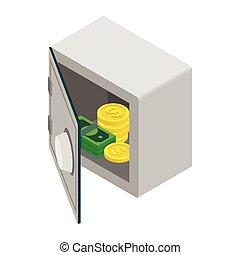 banknot, pieniądze, sejf, pieniądz, otwarty, ikona