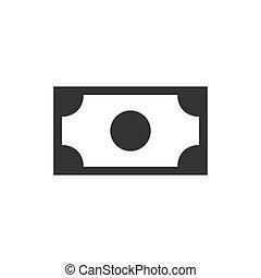 banknot, pieniądze, tło., czarnoskóry, biały, ikona