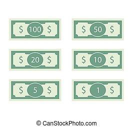 banknote, dollar, banknote, 50, 100, set.