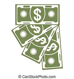 banknote fan green icon