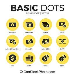 Banknote flat icons vector set