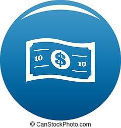 Banknote icon blue vector