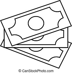 Banknote icon, money sign on a white background