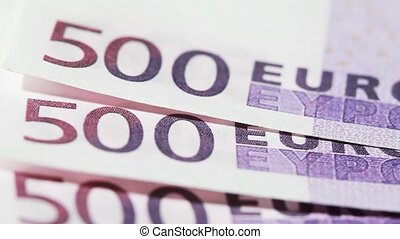 Banknote like real five hundred euros spinning - Closeup of...