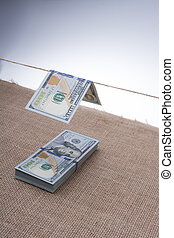 Banknote of US dollar hanging on a string