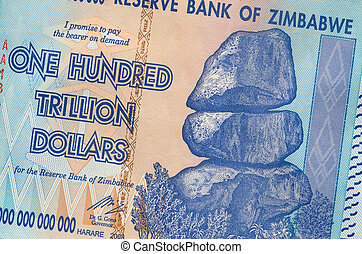 Banknote of Zimbabwe of one hundred trillion dollars. This banknote has the highest nominal value in history. The hyper-inflation in Zimbabwe in 2008 and 2009 broke every record. (No longer in circulation)
