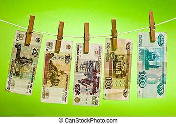 banknote - Russian bank note wear out over green background
