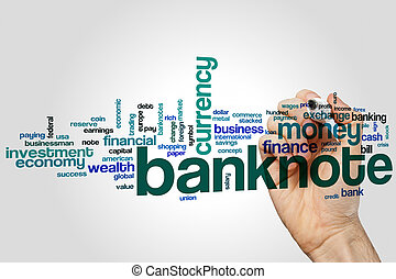 Banknote word cloud concept on grey background