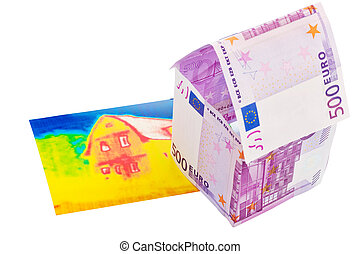 banknoten, haus, bild, €, infrarot