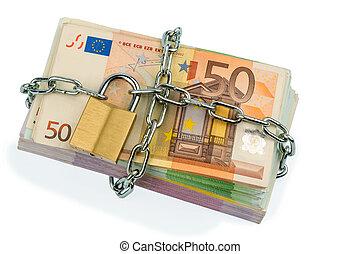 banknoten, vorhängeschloß, kette, euro