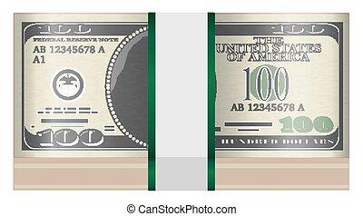 banknotes, $100, białe tło, opakujcie