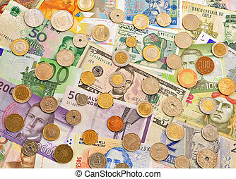 Banknotes and coins.